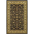 "Lyndhurst Collection Black/Ivory Polypropylene Rug (3'3"" x 5'3"")"