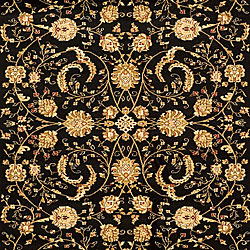 Lyndhurst Collection Black/Ivory Rug (8' x 11')