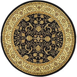 Lyndhurst Collection Black/ Ivory Rug (8' Round)