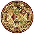 Lyndhurst Collection Multicolor/ Red Rug (5'3 Round)