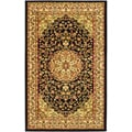 Lyndhurst Collection Black/ Ivory Rug (5'3 x 7'6)