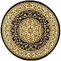 Lyndhurst Collection Black/ Ivory Rug (5'3 Round)