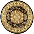 Large Lyndhurst Collection Black/Ivory Rug (8' Round)