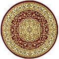 Lyndhurst Collection Red/ Ivory Polypropylene Rug (8' Round)