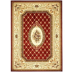 Lyndhurst Collection Traditional Red/ Ivory Rug (5'3 x 7'6)