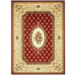 Lyndhurst Collection Traditional Red/ Ivory Rug (8' x 11')