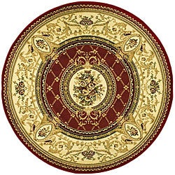 Safavieh Lyndhurst Collection Traditional Red/ Ivory Rug (5'3 Round)