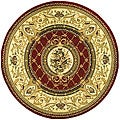 Lyndhurst Collection Traditional Red/ Ivory Rug (5'3 Round)