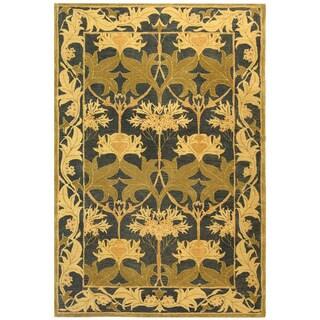 Handmade Mahal Navy/ Sage Wool Rug (8' x 10')