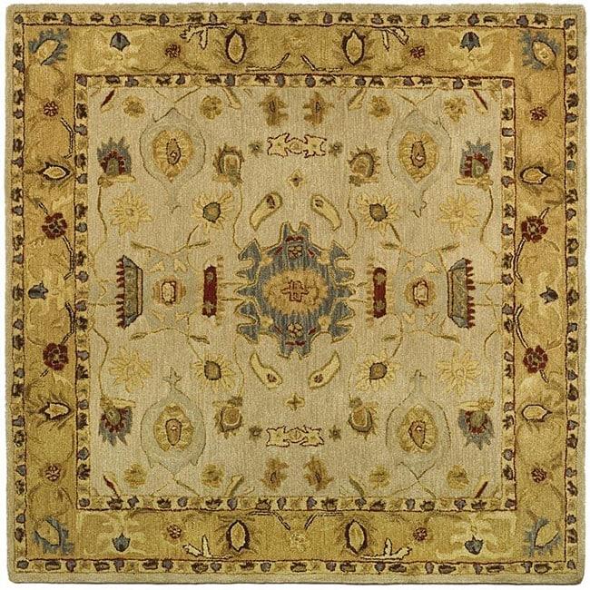 Safavieh Handmade Tribal Ivory/ Gold Wool Rug (6' Square)