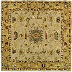 Handmade Tribal Ivory/ Gold Wool Rug (6' Square)