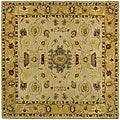 Handmade Tribal Ivory/ Gold Wool Rug (8' Square)