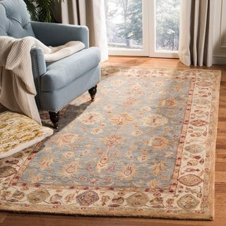 Handmade Heirloom Blue/ Ivory Wool Rug (9&#39; x 12&#39;)