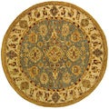 Handmade Heirloom Blue/ Ivory Wool Rug (4' Round)