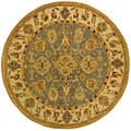 Handmade Heirloom Blue/ Ivory Wool Rug (6' Round)