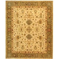 Handmade Heirloom Ivory/ Light Green Wool Rug (6' x 9')