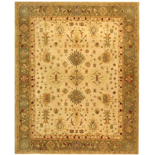 Safavieh Handmade Heirloom Ivory/ Light Green Wool Rug (9' x 12')