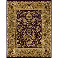 Handmade Classic Regal Burgundy/ Gold Wool Rug (8'3 x 11')