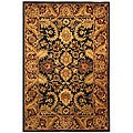 Handmade Classic Regal Black/ Burgundy Wool Rug (4' x 6')