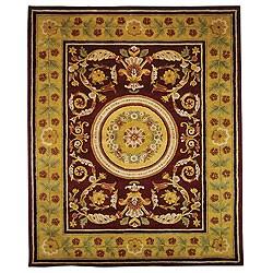 Handmade Classic Agra Burgundy/ Gold Wool Rug (5' x 8')