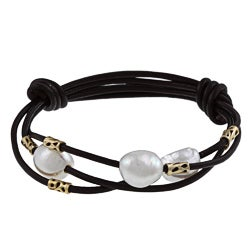 Leather and Freshwater Pearl Bracelet (11.5-12.5 mm)