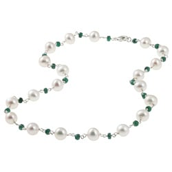 DaVonna Silver White FW Pearl and Green Emerald Necklace (8-8.5 mm)