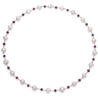 DaVonna Sterling Silver Freshwater Pearl and Ruby Necklace (8-8.5 mm)