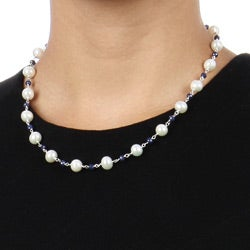 DaVonna Sterling Silver Freshwater Pearl and Sapphire Necklace (8-8.5 mm)