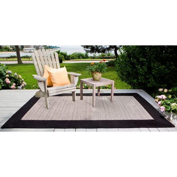Border Tweed Indoor / Outdoor Black Braided Rug (5' x 8')