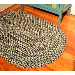 Smithfield Navy Indoor/ Outdoor Braided Rug (5' x 8')
