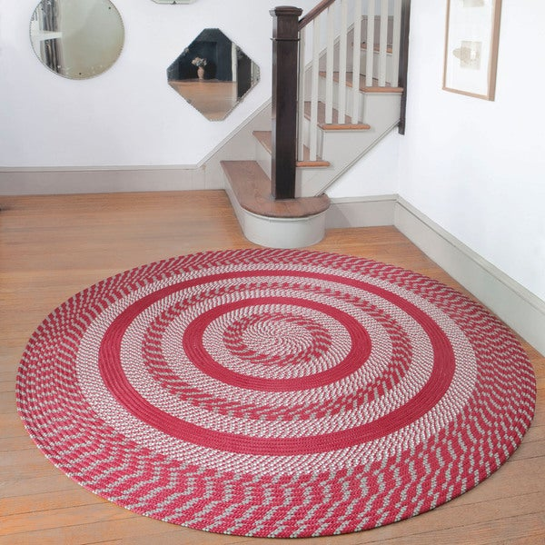 Cambridge Barn Red / Olive Braided Rug (8' Round)