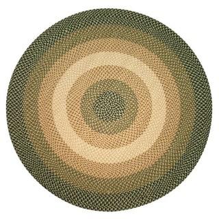 Pinehurst Pine Green Braided Wool Rug (6' Round)
