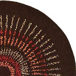 Handmade Deco Explosions Brown/ Multi N. Z. Wool Rug (6' Round)
