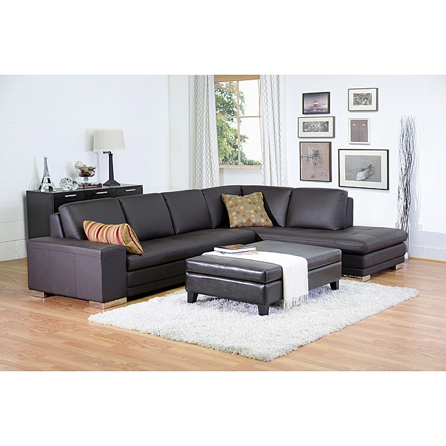 Larry Dark Brown Sectional Sofa/ Chaise Set