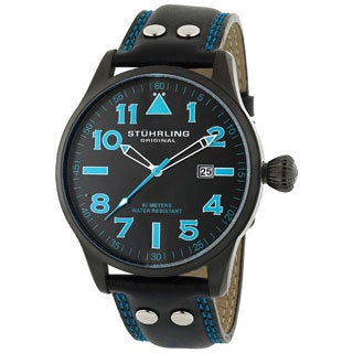 Stuhrling Original 'Eagle' Men's Black/Blue Pilot Swiss Quartz Watch