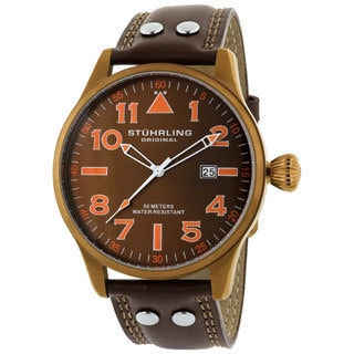 Stuhrling Original 'Eagle' Men's Brown/Orange Pilot Swiss Quartz Watch