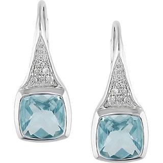 Miadora Sterling Silver Blue Topaz and Diamond Earrings