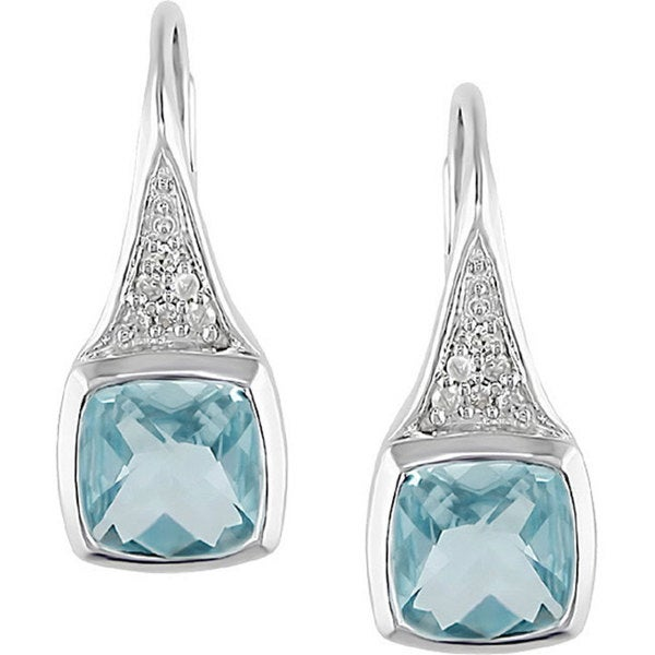 Miadora Sterling Silver Blue Topaz and Diamond Earrings
