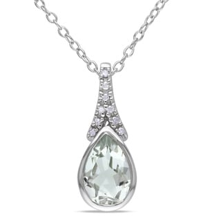 M by Miadora Sterling Silver Green Amethyst and Diamond Necklace