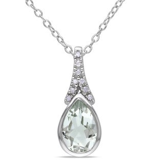 Miadora Sterling Silver Green Amethyst and Diamond Necklace