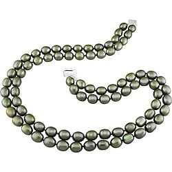 New York Pearls Silver Green FW Pearl 2-strand Necklace (8-9 mm)