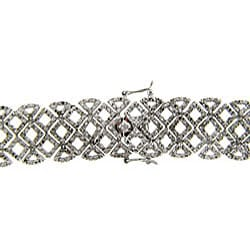 Finesque Sterling Silver 2ct TDW Diamond Lattice Bracelet