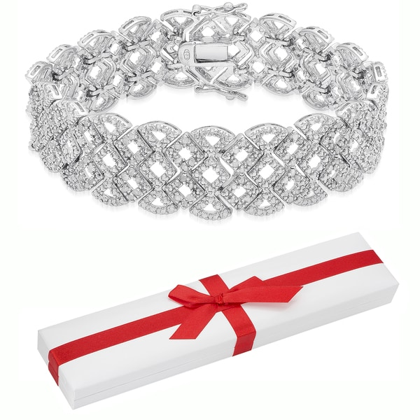 Finesque Sterling Silver 2ct TDW Diamond Lattice Bracelet with Red Bow Gift Box