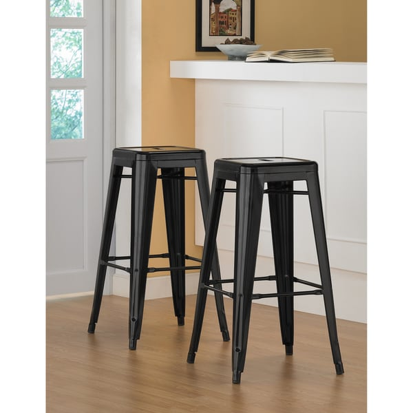 Tabouret 30-inch Black Metal Bar Stools (Set of 2)