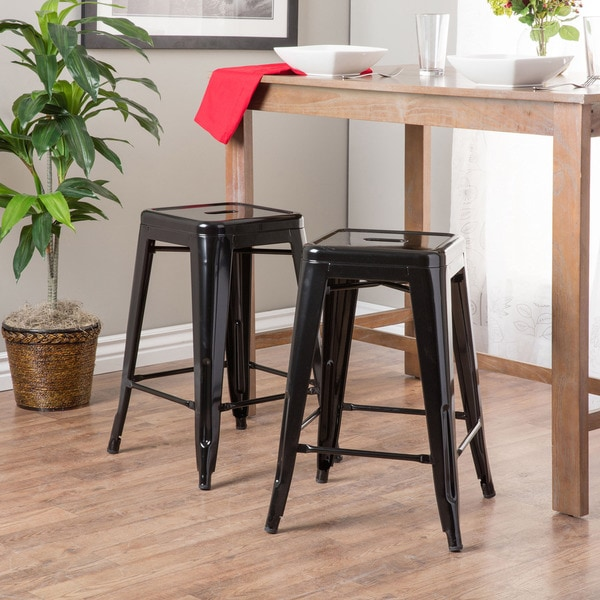 Tabouret 24-inch Black Metal Counter Stools (Set of 2)