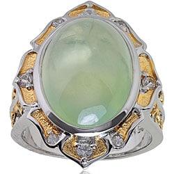 Michael Valitutti Palladium Silver Prehnite and Sapphire Ring