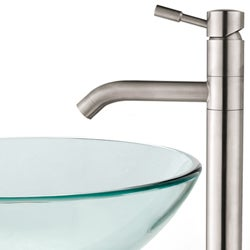 Kraus Clear Glass Vessel Sink/ Aldo Stainless Steel Faucet