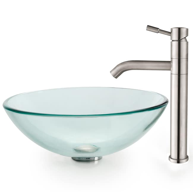Kraus Clear Glass Vessel Sink and Aldo Steel Faucet