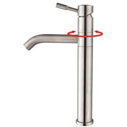 Kraus Clear Glass Vessel Sink and Aldo Steel Faucet