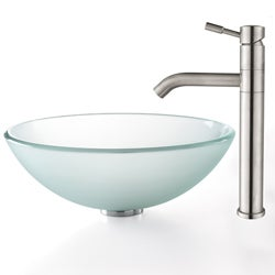 Kraus Frosted Glass Sink and Aldo Steel Bathroom Faucet